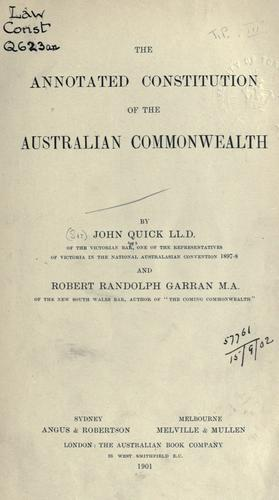 Download The annotated constitution of the Australian Commonwealth