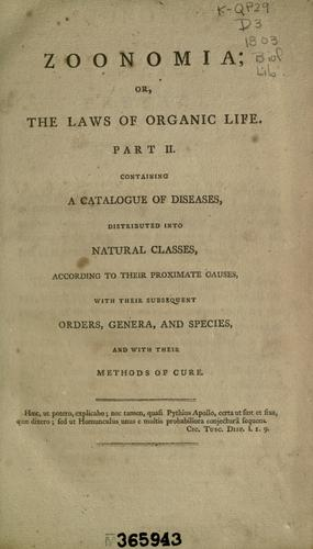 Zoonomia; or, The Laws of Organic Life …