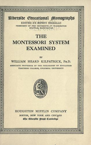 Download The Montessori system examined.