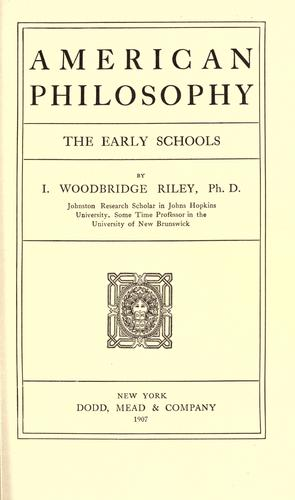 American philosophy, the early schools.