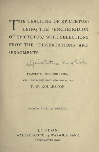 The teaching of Epictetus