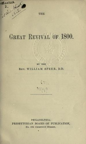 The great revival of 1800.