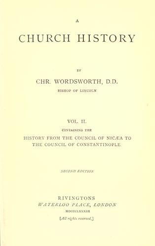 A church history by Wordsworth, Christopher