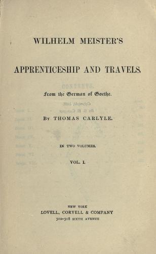 Download Wilhelm Meister's apprenticeship and travels