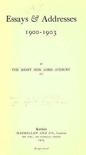 Essays & addresses, 1900-1903
