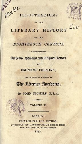 Download Illustrations of the literary history of the eighteenth century