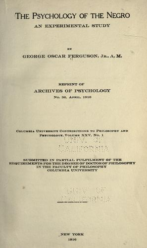 Download The psychology of the Negro