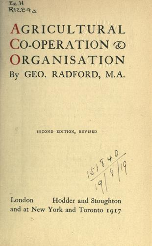 Agricultural co-operation and organisation.
