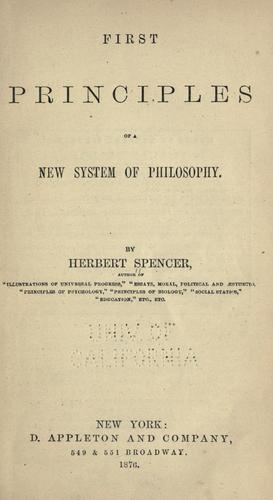 First principles of a new system of philosophy. —