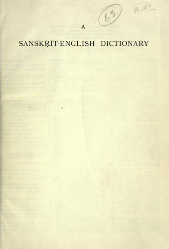 A  Sanskrit-English dictionary by Sir Monier Monier-Williams