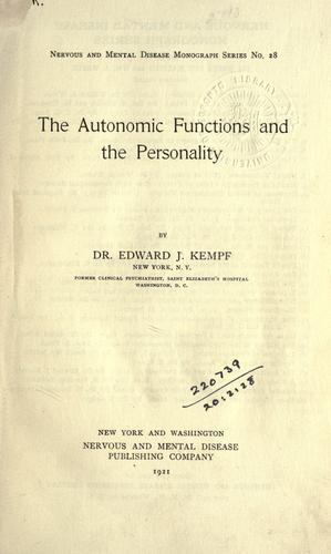 The autonomic functions and the personality.