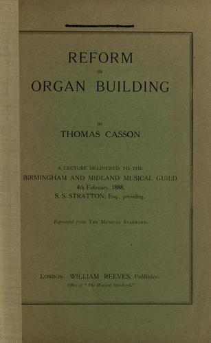 Reform in organ building