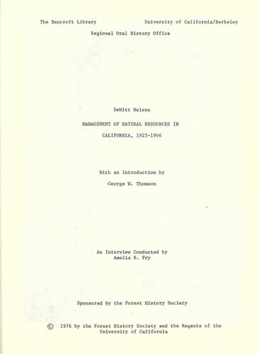 Management of natural resources in California, 1925-1966