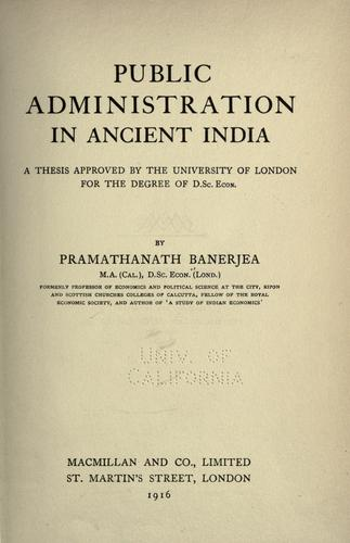 Download Public administration in ancient India