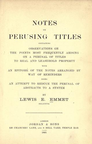 Notes on perusing titles