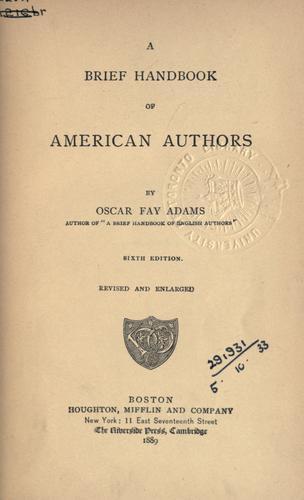 A brief handbook of American authors.