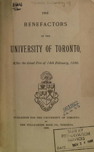 The benefactors of the University of Toronto after the great fire of 14th February, 1890.