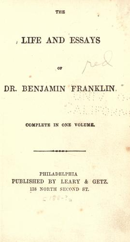 Download The life and essays of Dr. Benjamin Franklin …