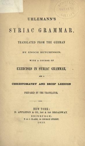 Uhlemann's Syriac grammar.