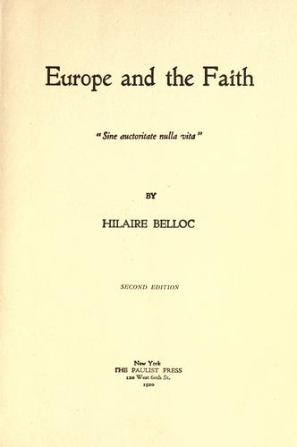 Europe and the faith.