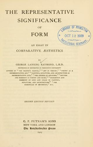 The representative significance of form by George Lansing Raymond