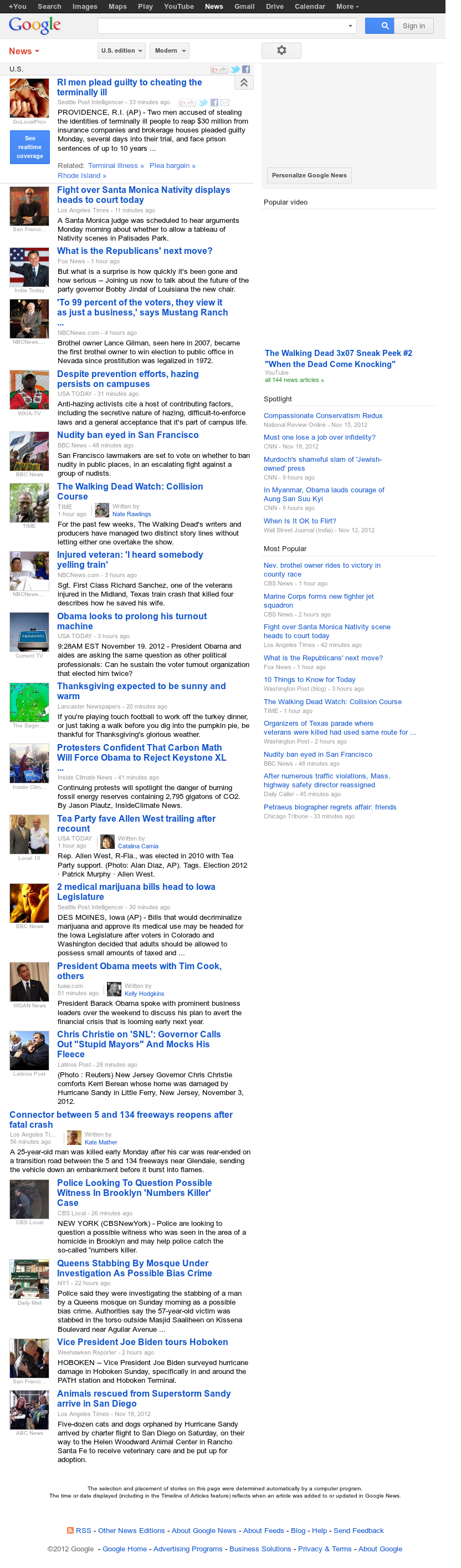 Google News: U.S. at Monday Nov. 19, 2012, 5:13 p.m. UTC