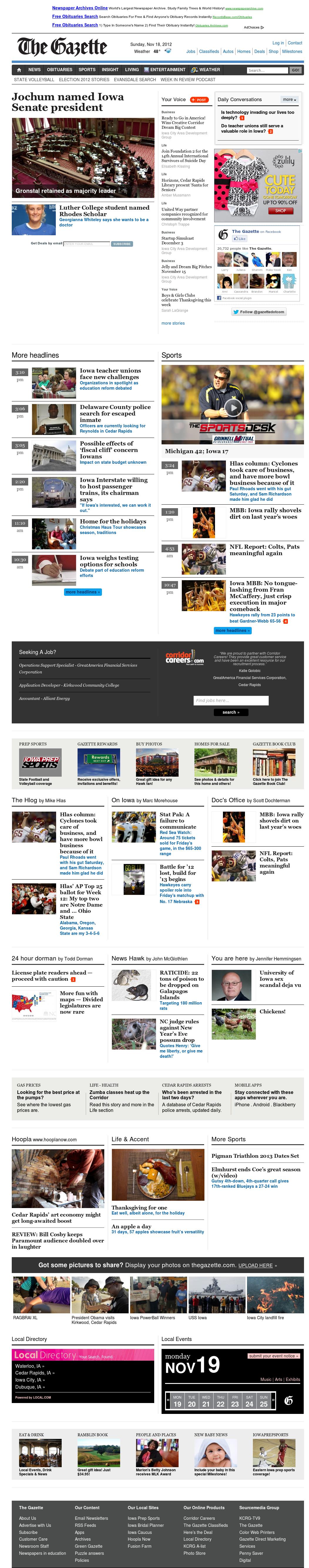 The (Cedar Rapids) Gazette at Monday Nov. 19, 2012, 3:09 a.m. UTC