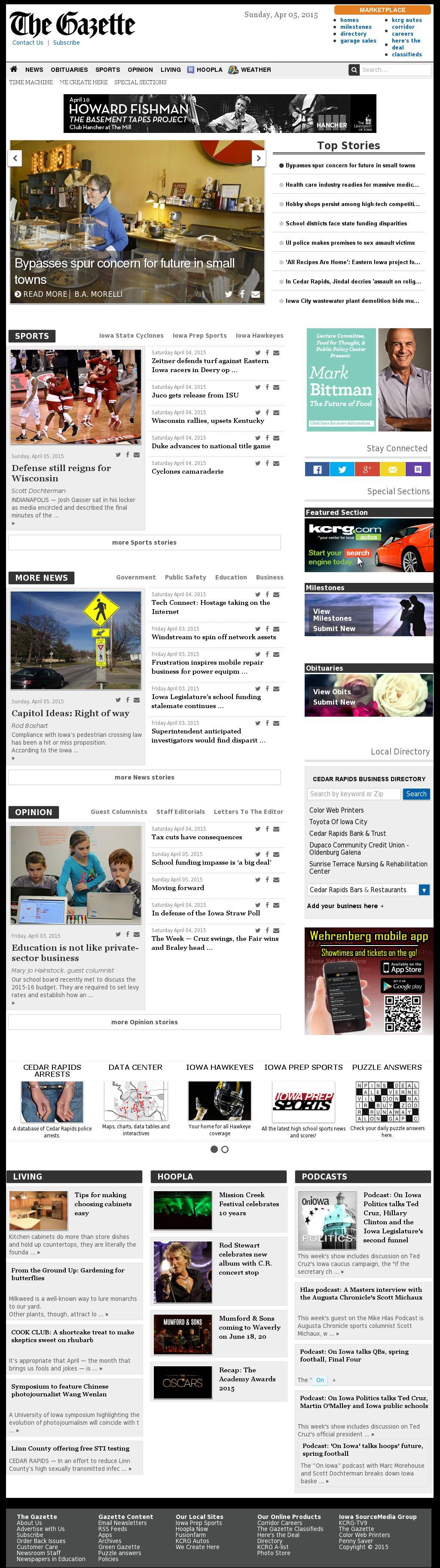The (Cedar Rapids) Gazette at Sunday April 5, 2015, 12:08 p.m. UTC