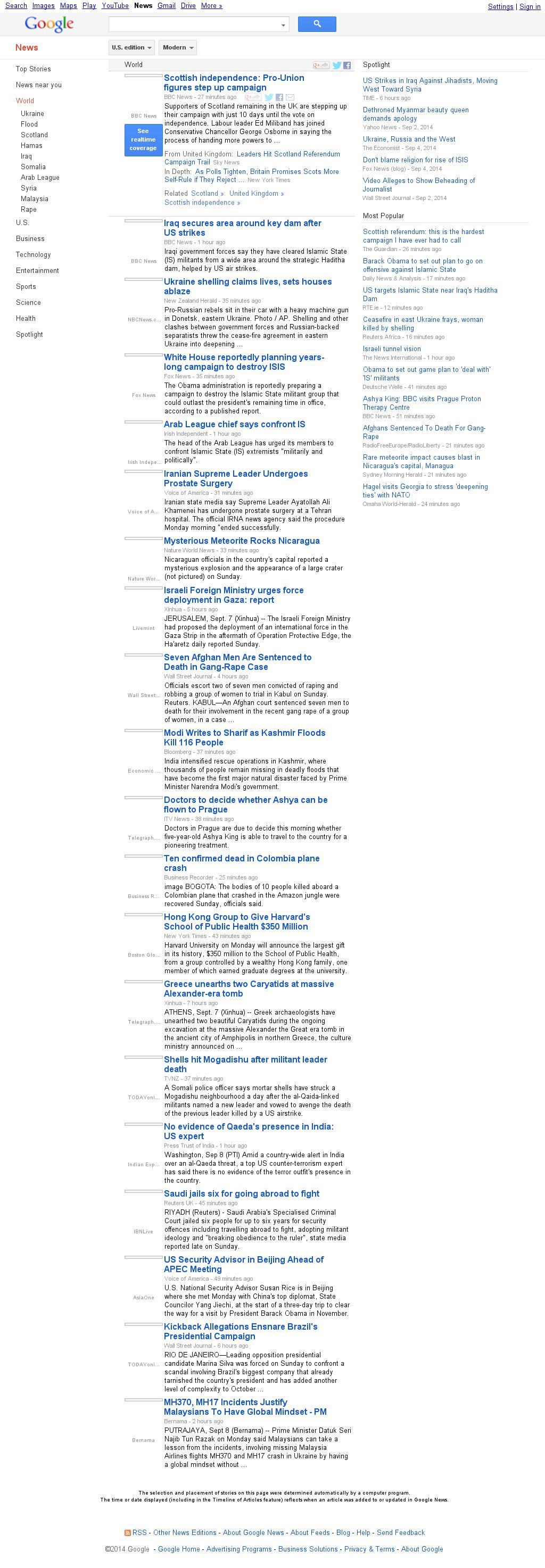 Google News: World at Monday Sept. 8, 2014, 6:06 a.m. UTC