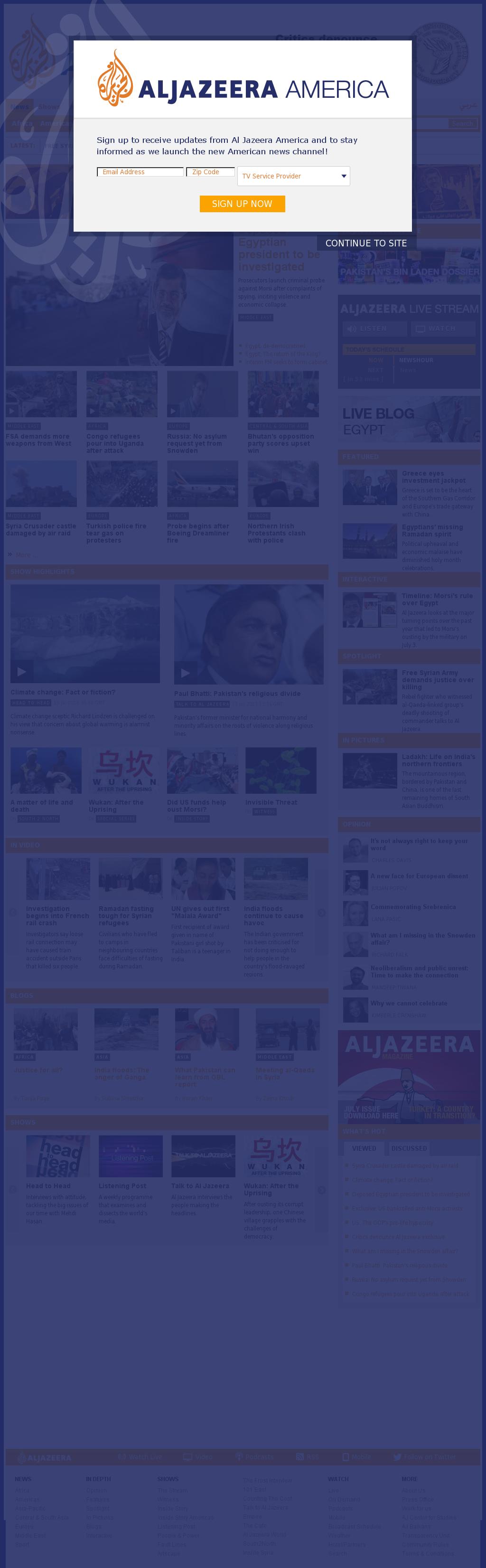 Al Jazeera (English) at Saturday July 13, 2013, 6:09 p.m. UTC