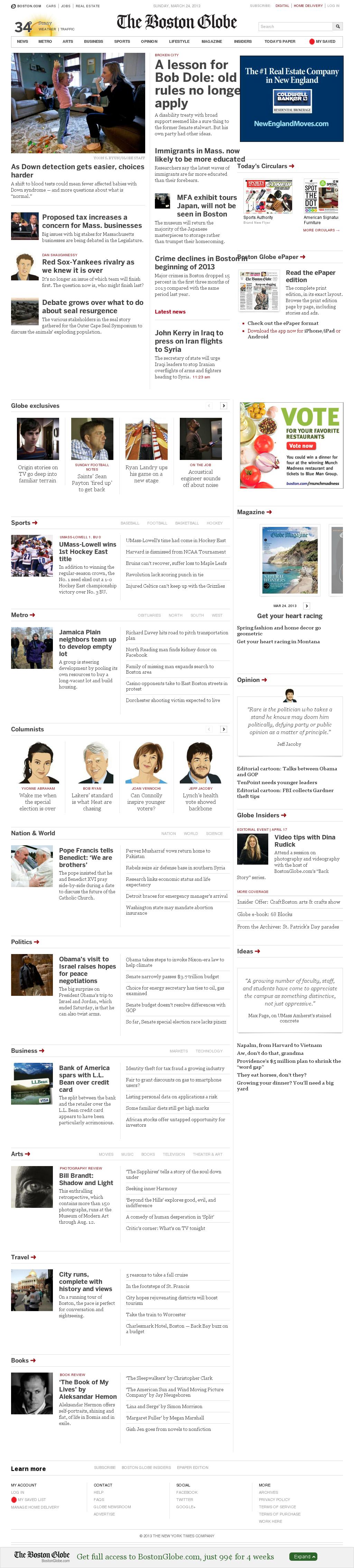 The Boston Globe at Sunday March 24, 2013, 1:04 p.m. UTC
