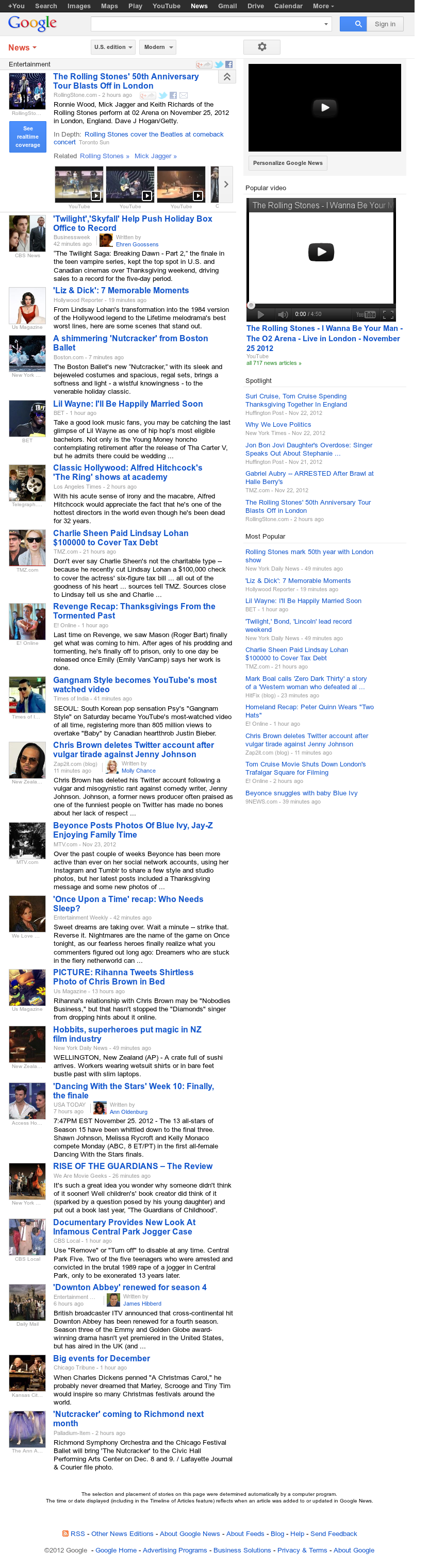 Google News: Entertainment at Monday Nov. 26, 2012, 6:09 a.m. UTC
