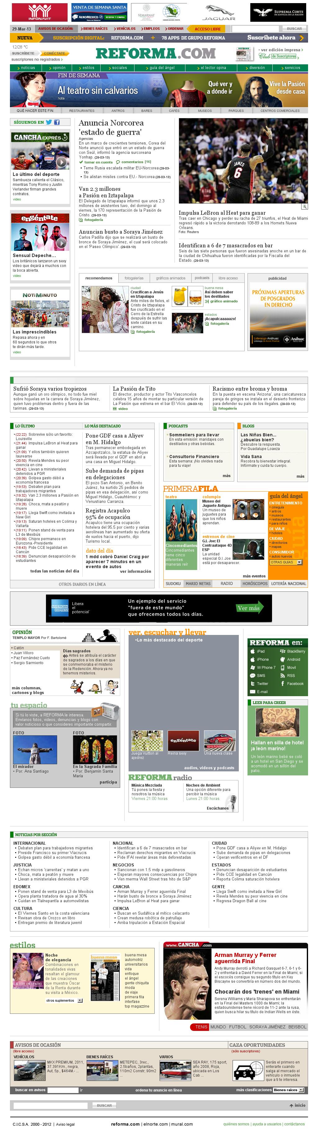 Reforma.com at Saturday March 30, 2013, 5:30 a.m. UTC