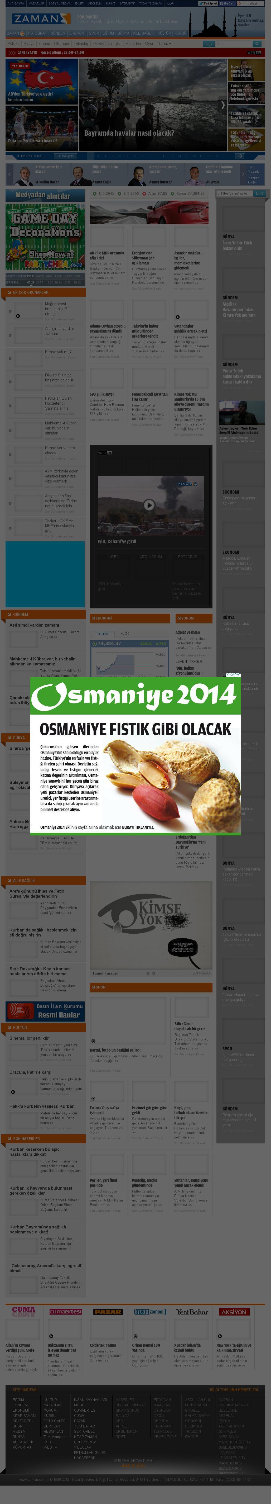 Zaman Online at Friday Oct. 3, 2014, 8:21 p.m. UTC