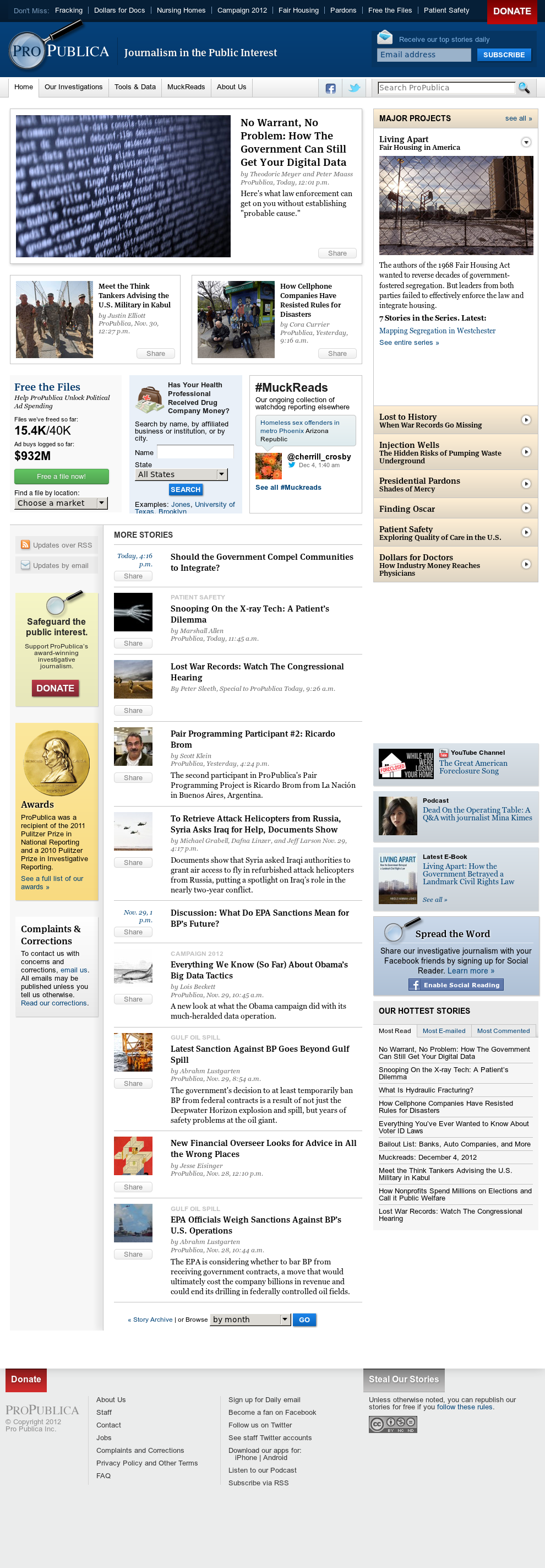 ProPublica at Wednesday Dec. 5, 2012, 12:25 a.m. UTC