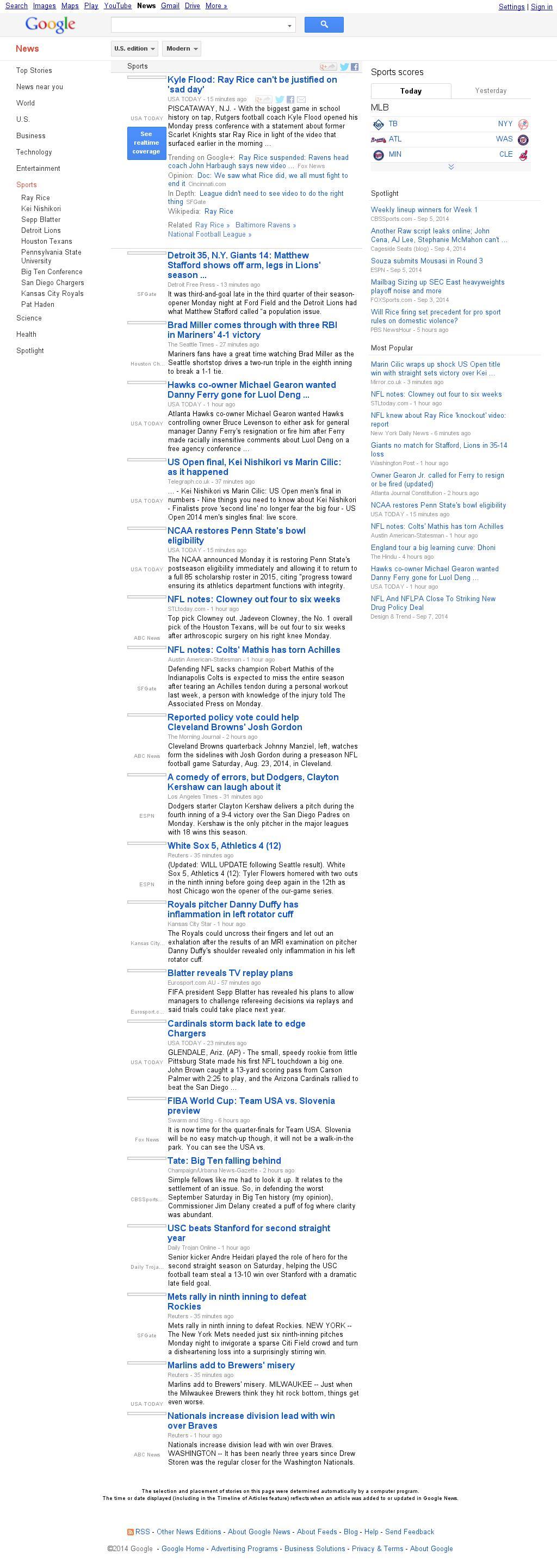 Google News: Sports at Tuesday Sept. 9, 2014, 7:06 a.m. UTC