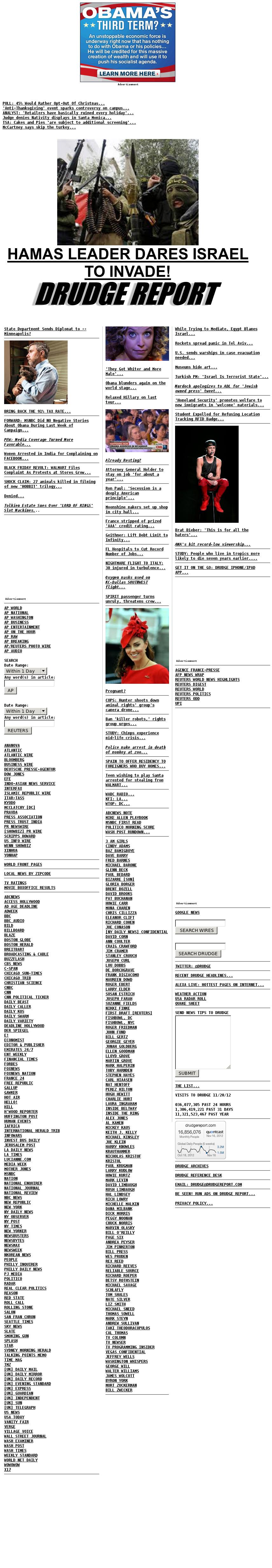 Drudge Report at Tuesday Nov. 20, 2012, 3:08 a.m. UTC