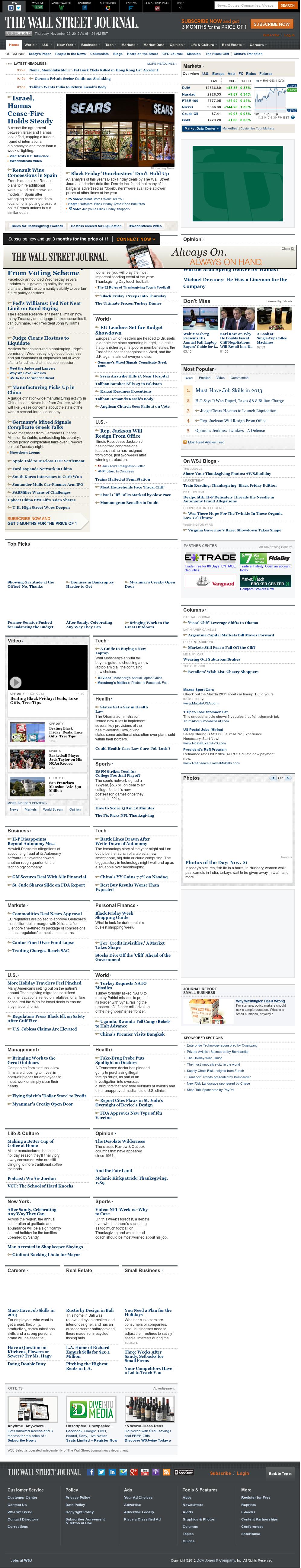 The Wall Street Journal at Thursday Nov. 22, 2012, 9:34 a.m. UTC