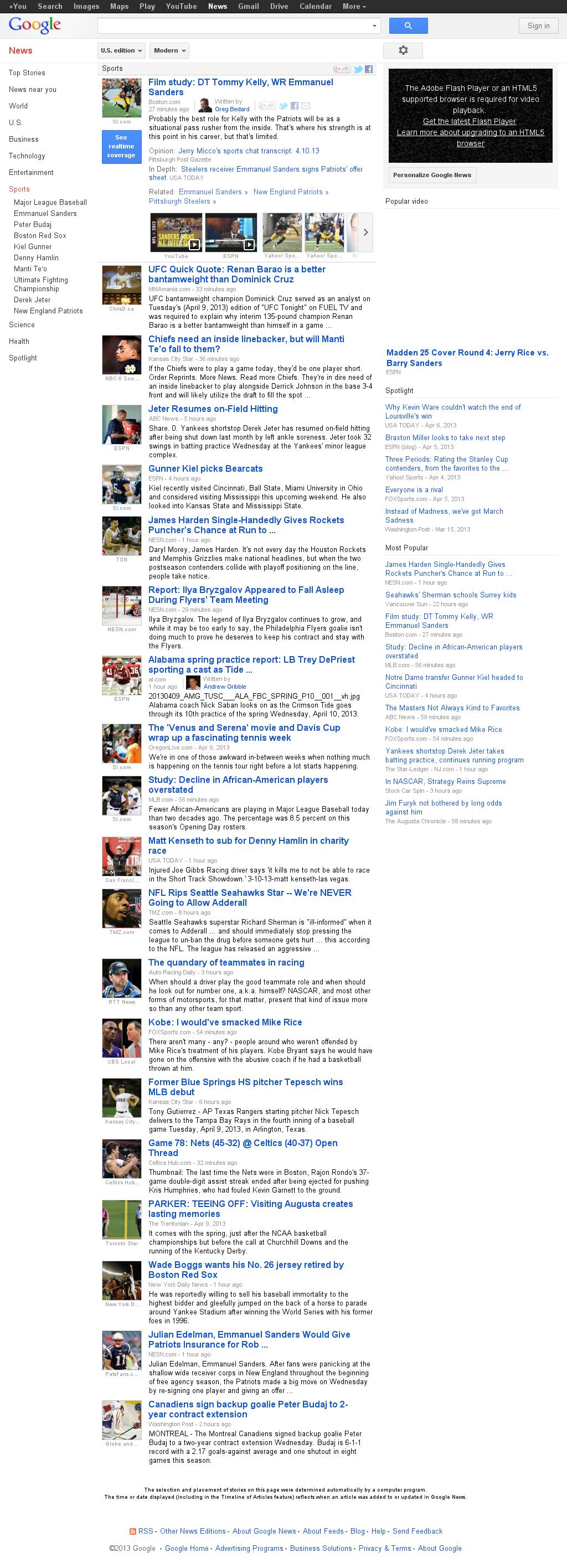 Google News: Sports at Wednesday April 10, 2013, 11:09 p.m. UTC