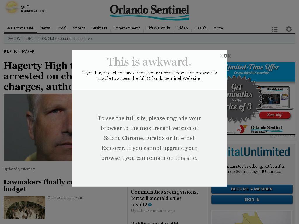 Orlando Sentinel at Tuesday June 16, 2015, 8:20 p.m. UTC