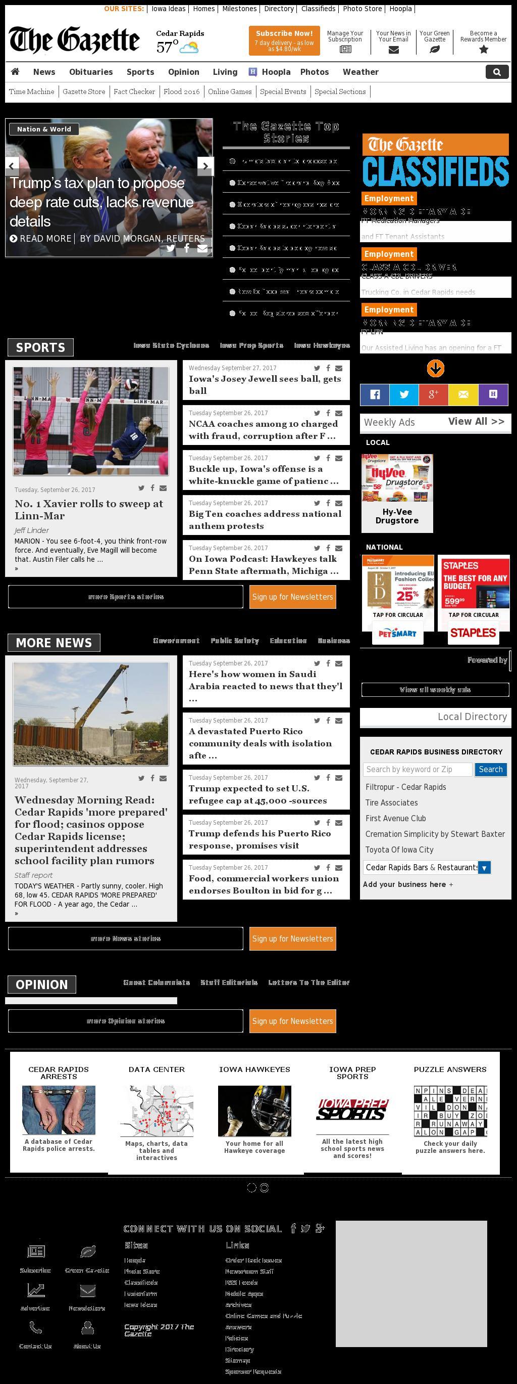 The (Cedar Rapids) Gazette at Wednesday Sept. 27, 2017, 2:11 p.m. UTC