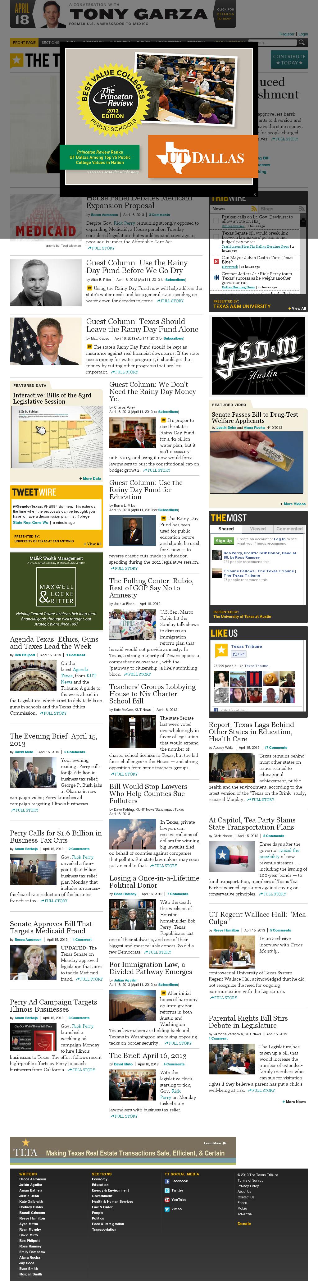 The Texas Tribune at Tuesday April 16, 2013, 4:23 p.m. UTC