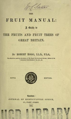 The fruit manual by Hogg, Robert