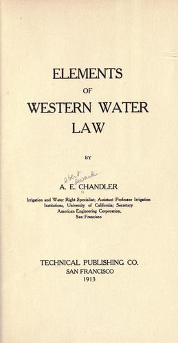 Elements of western water law