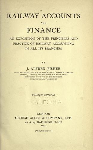 Railway accounts and finance by Joseph Alfred Fisher