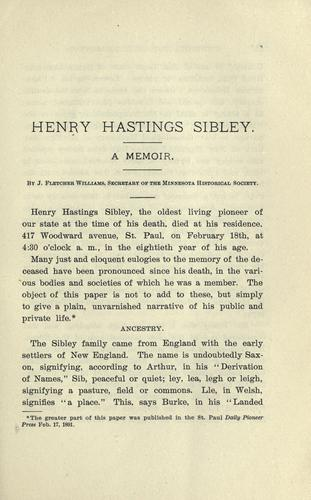 Henry Hastings Sibley by J. Fletcher Williams