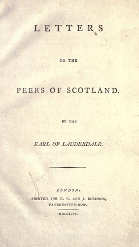 Letters to the peers of Scotland.