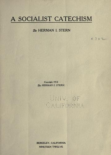 A socialist catechism by Herman I. Stern