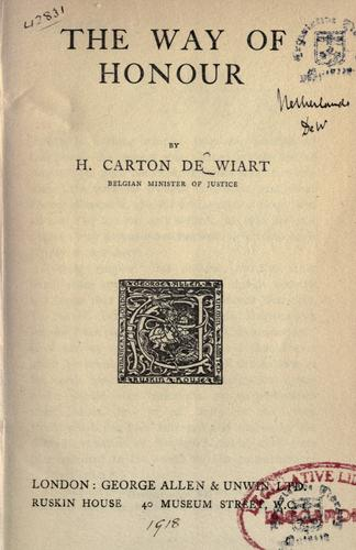 The way of honour by Carton de Wiart, Henry Comte