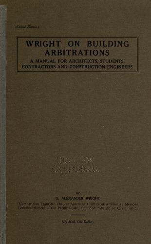 Wright on building arbitrations by George Alexander Wright